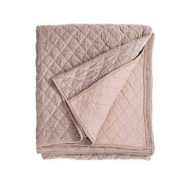 Velour sengetæppe i støvet rosa quiltet tæppe Nordal