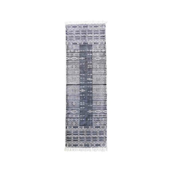 Julia gulvtæppe 70x240 fra House Doctor. Sort og hvid orientalsk mønster