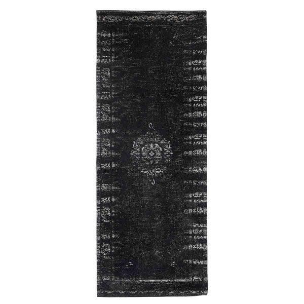 Grand gulvtæppe 75x200 cm fra Nordal. Jacquard vævet sort og hvid.