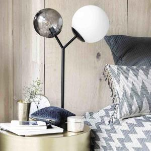 Twice bordlampe i sort metal og glas