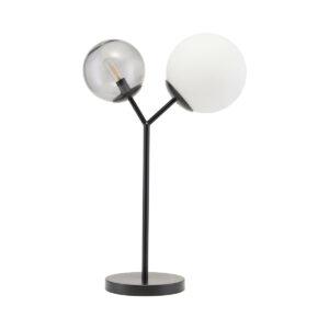 Twice bordlampe i sort metal og glas