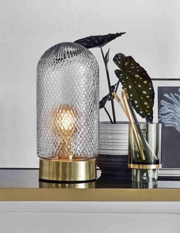 Dome bordlampe i guld og glas fra Nordal