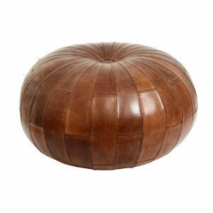 Læder puf i antik brun fra Nordal