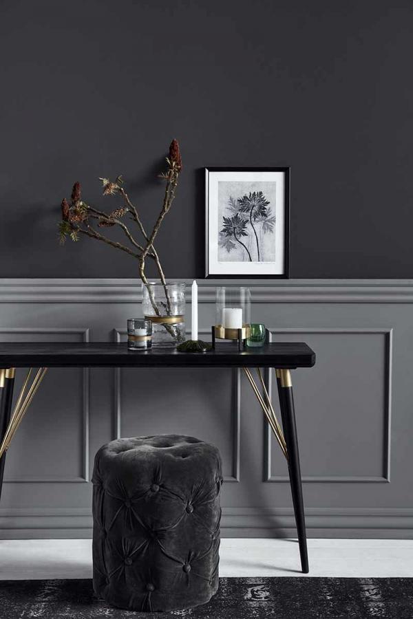 Nordal konsolbord i sortmalet træ og guld