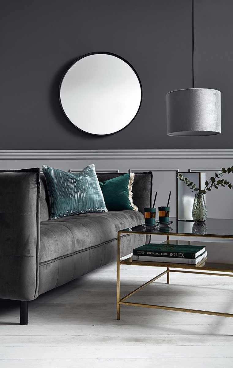 Picture of: Sofa I Gra Velour Nordal Velour Sofa Med Hoj Siddekomfort