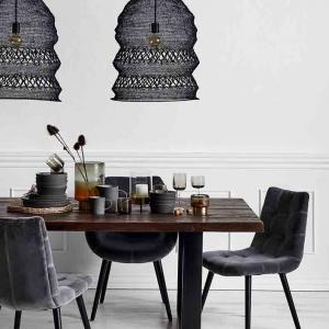 Dinner spisebordsstol med armlæn i grå velour fra Nordal