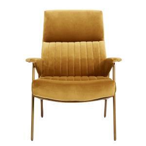 Ibex lænestol m. armlæn i mustard farvet velour fra Nordal