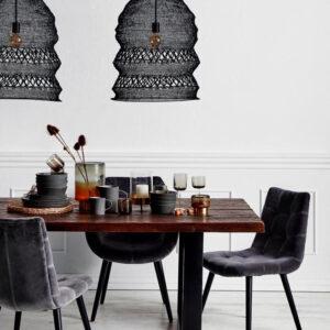 Nordal dinner velour spisebordsstol med armlæn grå