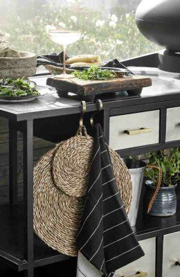 Dækkeserviet - bordskåner - flettet søgræs med lille strop fra Nordal