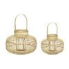 Lanterner i bambus natur farvet, sæt a 2 stk. Hübsch lanterner