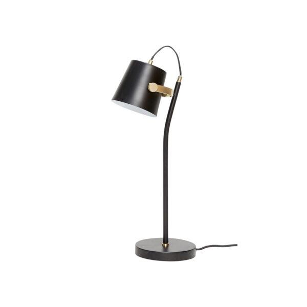 Bordlampe i sort og messing fra Hübsch. Justerbar lampeskærm.