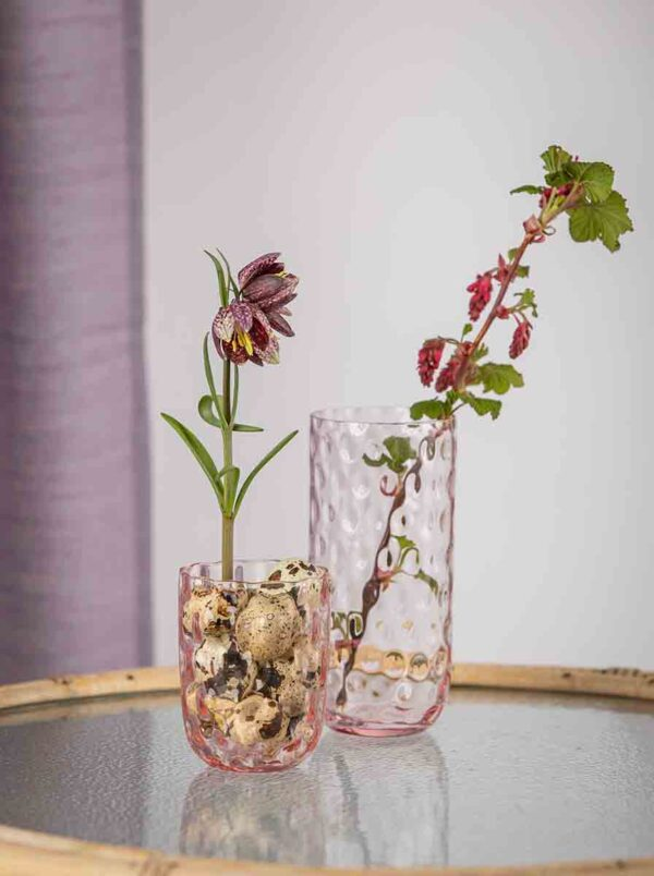 Drikkeglas longdrink pink fra kodanska. mundblæst drikkeglas.