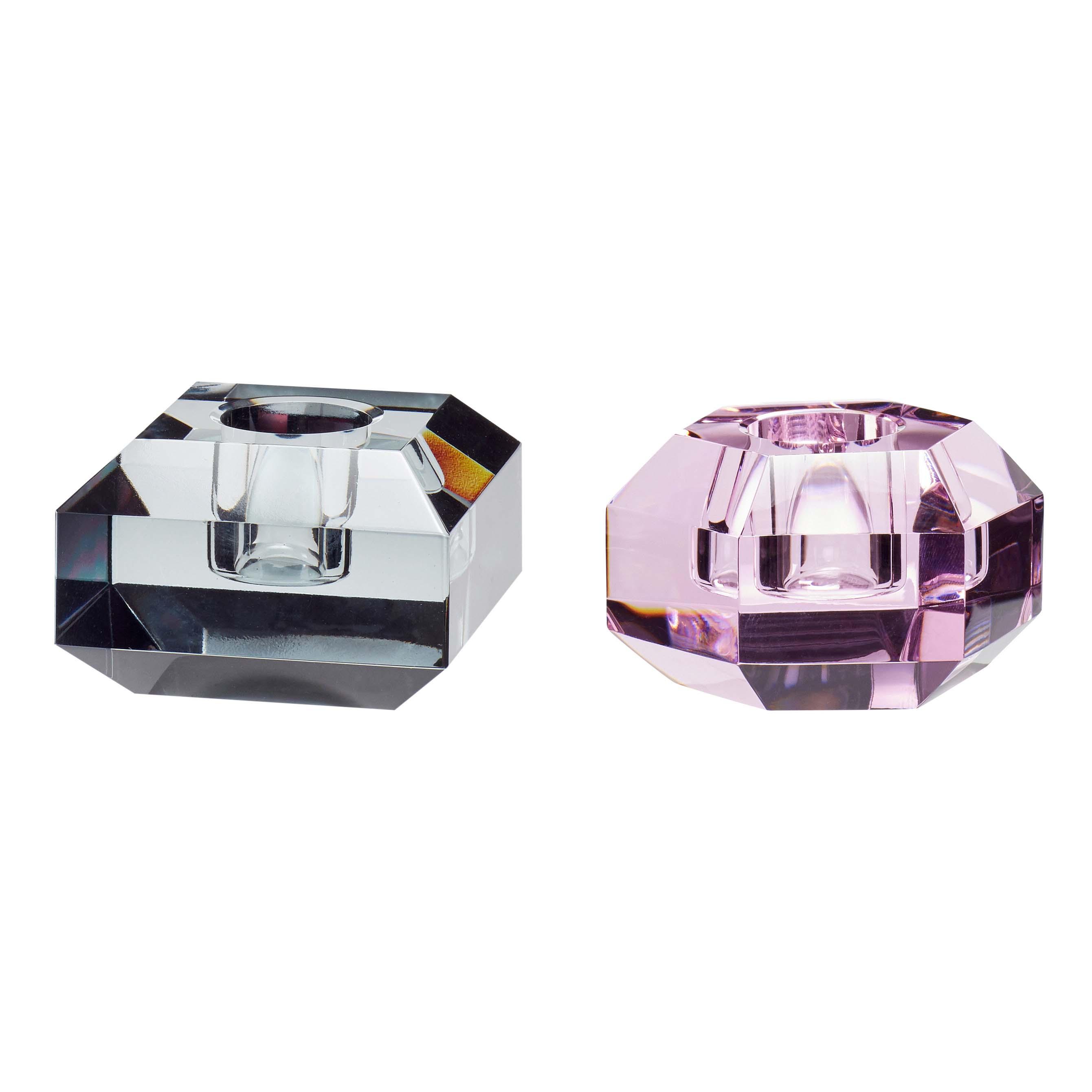 Image of Hübsch lysestage i glas - sæt á 2 stk - pink og smoke