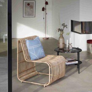 Sofabord i sort marmor og glas dia. 65 cm fra Hübsch