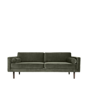 Broste Copenhagen Wind 3 pers. sofa i grape leaf. Smuk velour sofa i mørkegrøn.