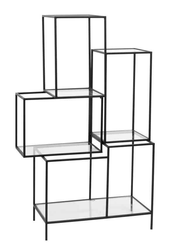 Nordal asymmetrisk reol med glashylder i sort
