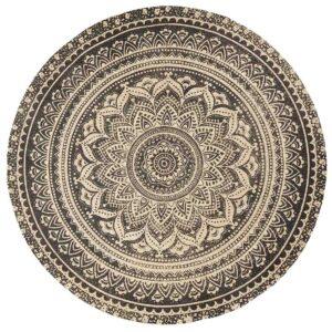 Nordal mat gulvtæppe i jute med sort trykt mønster. Ø150 cm