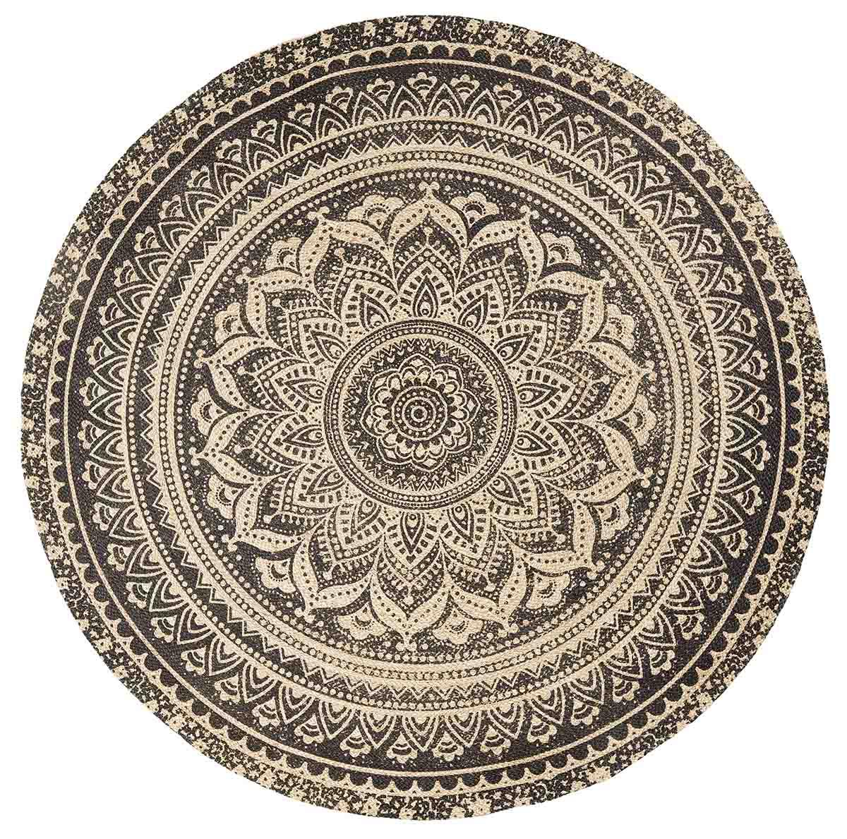 Image of   Nordal Mat gulvtæppe i jute med sort mønster - Ø150 cm