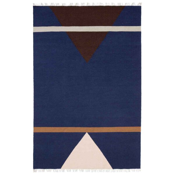 Nordal sharp gulvtæppe 160x240 cm i blå pink og vinrød. Håndlavet i uld