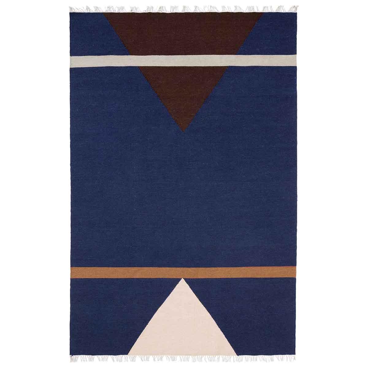 Image of   Nordal Sharp Gulvtæppe - 160x240 cm - blå, pink og vinrød