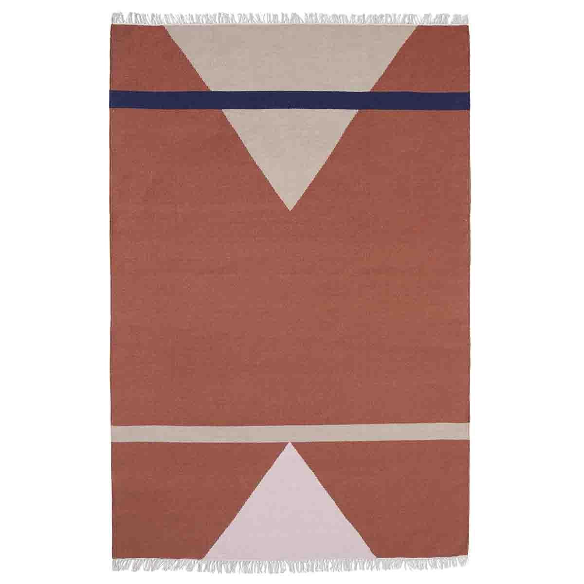 Image of   Nordal Sharp Gulvtæppe - 160x240 cm - terracotta, pink og beige