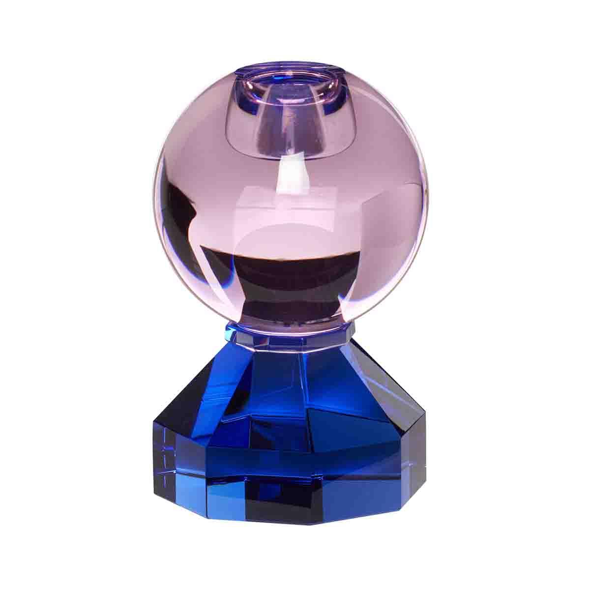 Image of Hübsch lysestage i krystal - blå og pink