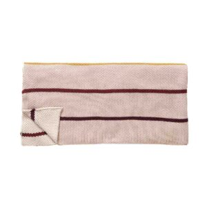 Hübsch plaid med striber i bordeaux, lyserød og okker. Bomuld