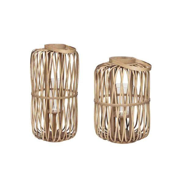 Hübsch lanterne i bambus h32 cm & h37 cm