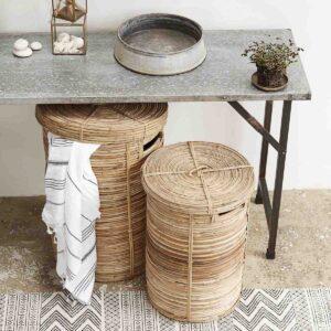 House Doctor vasketøjskurve i rattan bambus med låg 2 stk