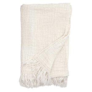 Nordal hør sengetæppe i hvid, 270x270 cm