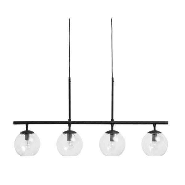 Nordal Globe loftlampe i sort med 4 glaskupler