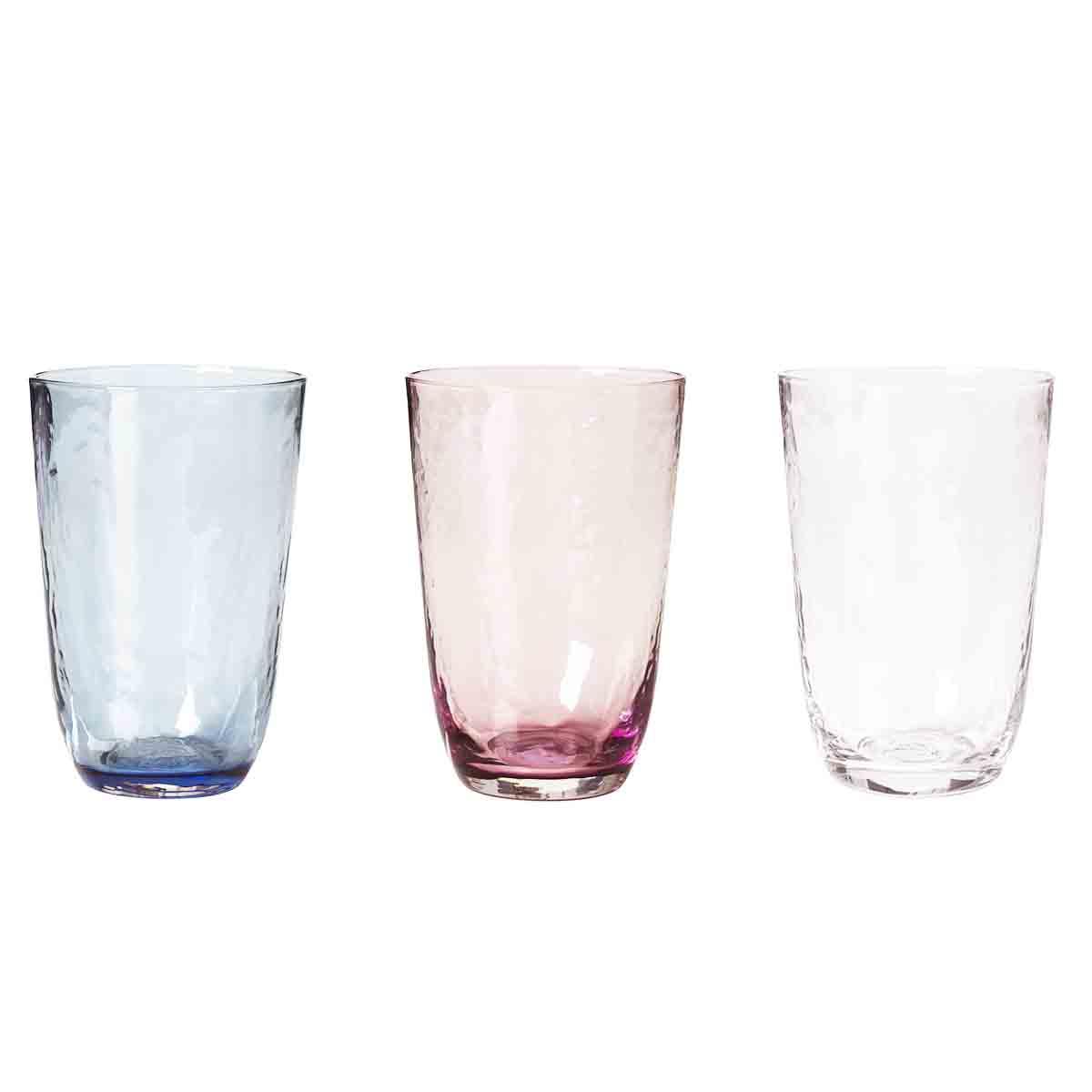 Image of   Broste Copenhagen Hammered glas - 3 stk mix farver - 50 cl
