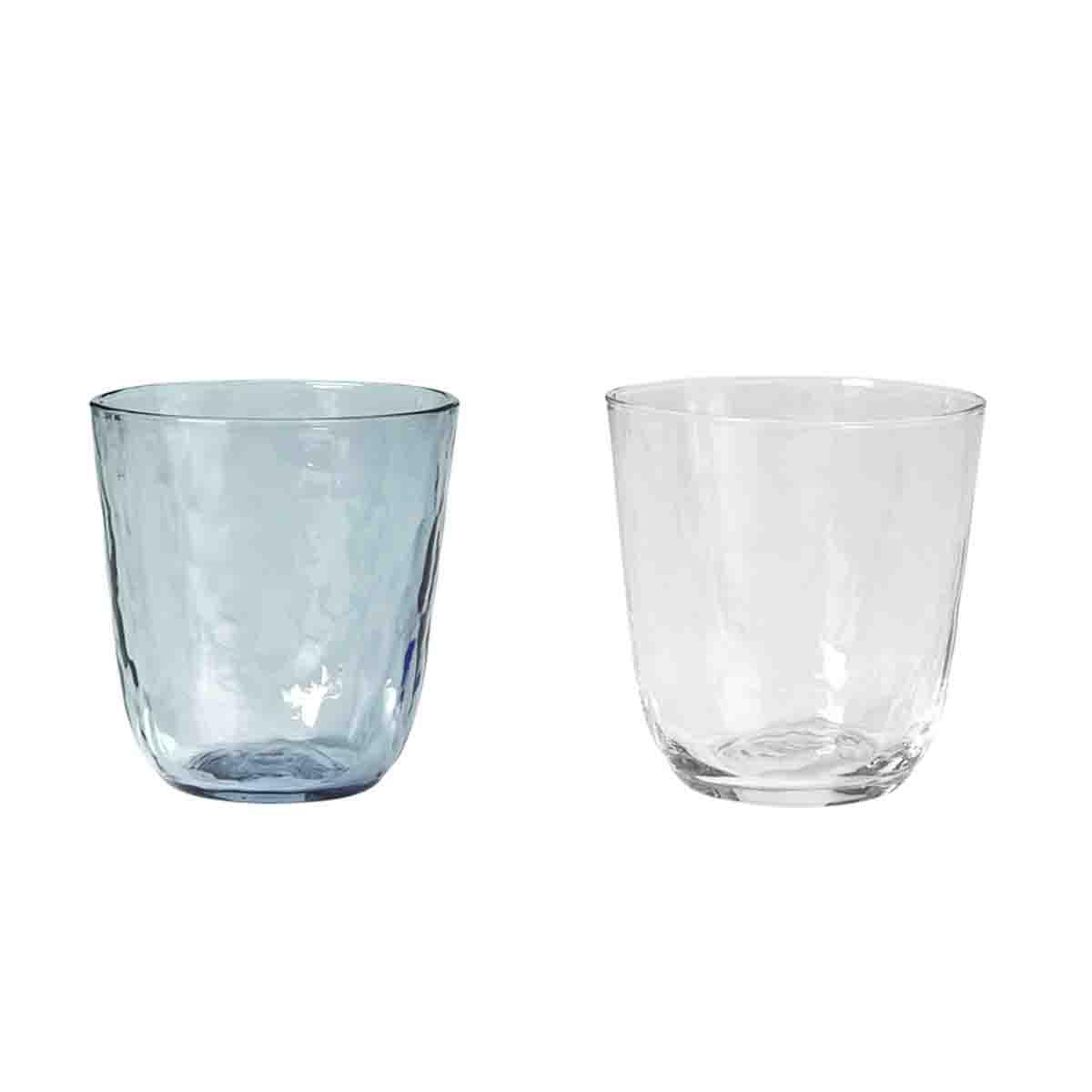 Image of   Broste Copenhagen Hammered glas - 2 stk mix farver - 33 CL