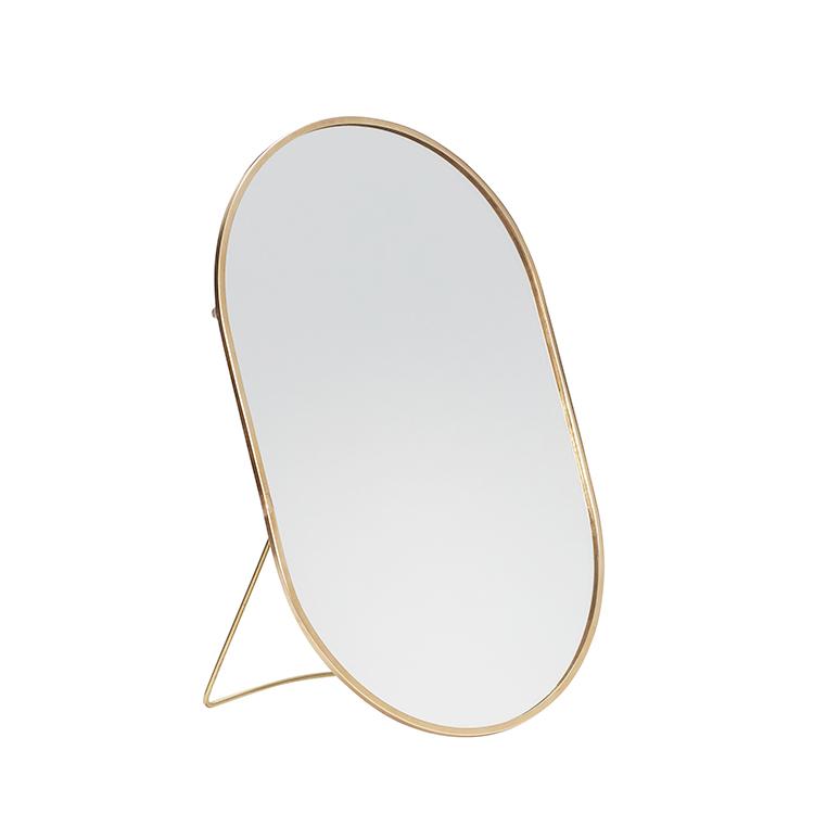 Hübsch bordspejl med fod oval messing – 25×16 cm