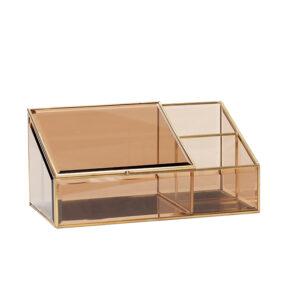 Hübsch glasboks i messing og klar glas. Perfekt mapeup kasse
