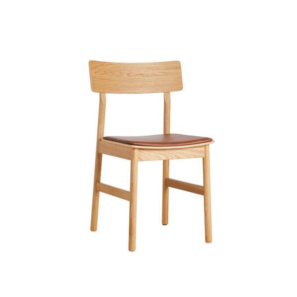 WOUD Pause spisebordsstol i olieret eg med lædersæde i cognac