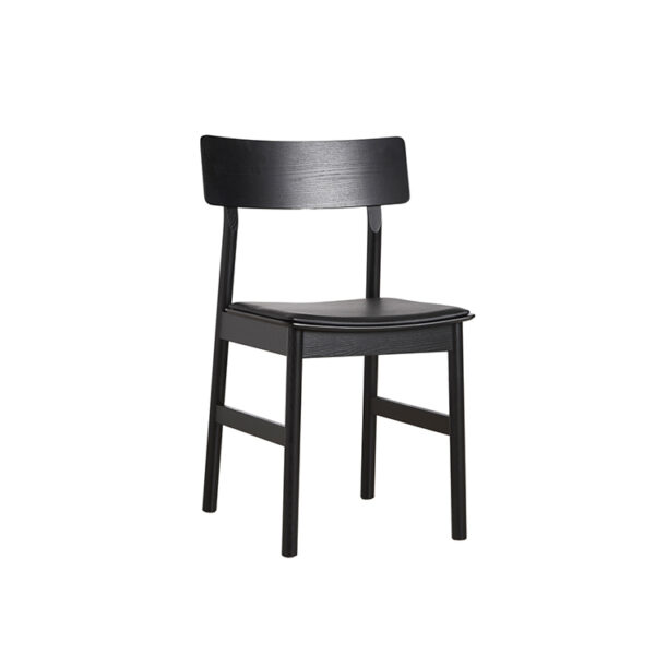 WOUD Pause spisebordsstol i sort ask med lædersæde i sort