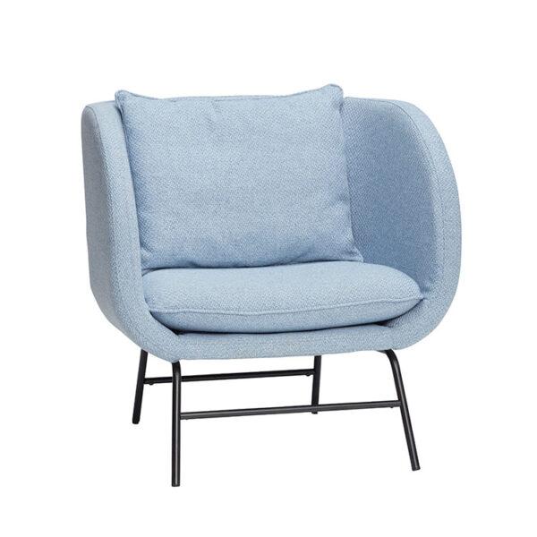 Hübsch loungestol i blå med sort metalstel