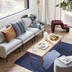 Hübsch sofabord med kant i egetræ