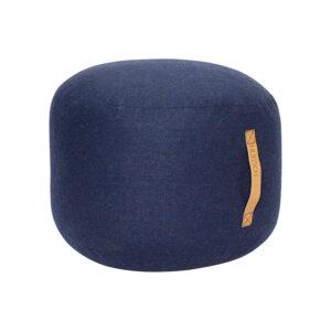 Hübsch puf med læderhank i blå uld Ø50 cm