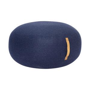 Hübsch puf med læderhank i blå uld Ø70 cm