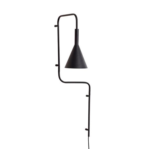 Hübsch væglampe i sort metal 81 cm høj
