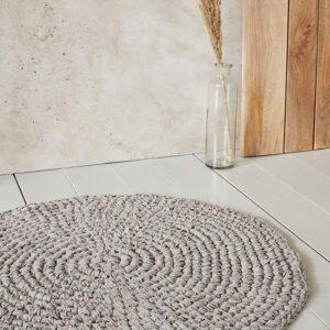 House Doctor crochet badeværelsesmåtte i grå - Ø80 cm