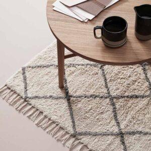 Hübsch gulvtæppe i hvid og grå bomuld 90x150 cm