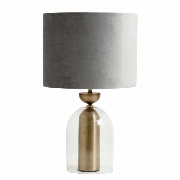 velour lampeskærm i grå fra Nordal