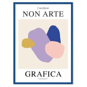 Nynne Rosenvinge Non Arte Grafica 01 med ramme i blå egetræ