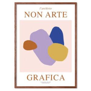 Nynne Rosenvinge Non Arte Grafica 02 med ramme i mørk egetræ
