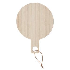 OYOY ping pong håndspejl i naturlig asketræ og lædersnor til ophæng