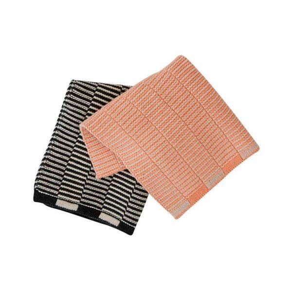 OYOY stringa strikket karklud i antracit og koral - pakke med 2 stk