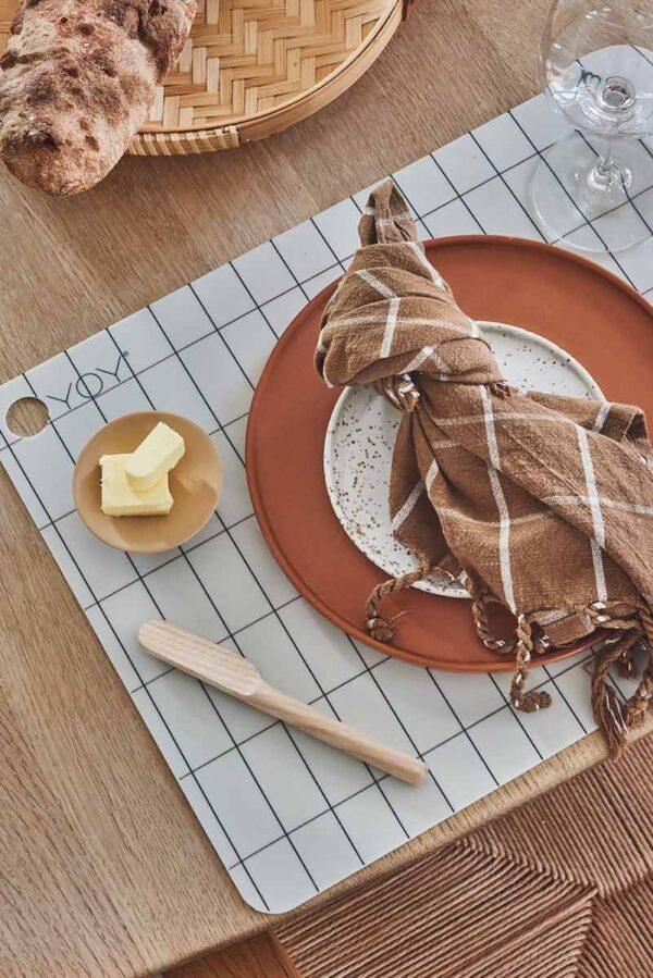 OYOY gobi viskestykker i camel og råhvide nuancer i økologisk bomuld